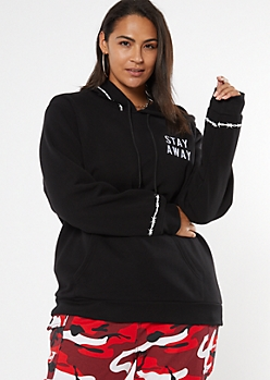 Plus Black Embroidered Stay Away Hoodie
