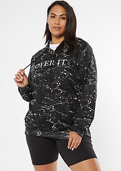 Plus Black Paint Splatter Embroidered Over It Hoodie