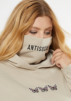 Plus Sand Antisocial Butterfly Embroidered Mask Hoodie