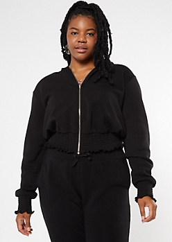 Plus Black Zip Up Smocked Hem Skimmer Hoodie