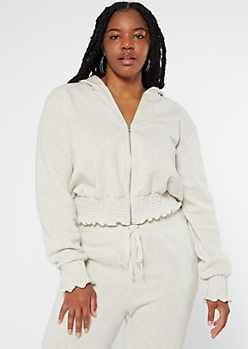 Plus Heather Gray Zip Up Smocked Hem Skimmer Hoodie