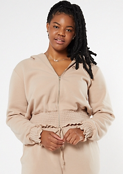 Plus Taupe Zip Up Smocked Hem Skimmer Hoodie