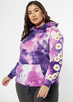 Plus Purple Tie Dye Daisy Sleeve Drawstring Hoodie