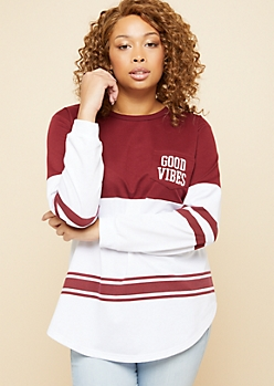 Plus Burgundy Good Vibes Pocket Colorblock Sweatshirt