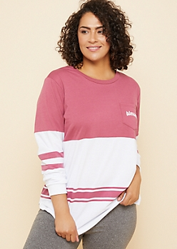 Plus Pink Blessed Pocket Colorblock Sweatshirt