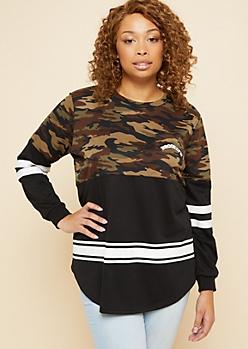 Plus Camo Print Brooklyn Pocket Colorblock Sweatshirt