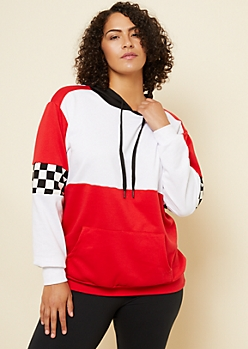 Plus Red Colorblock Checkerboard Pattern Hoodie