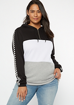 Plus Black Colorblock Checkered Print Hoodie