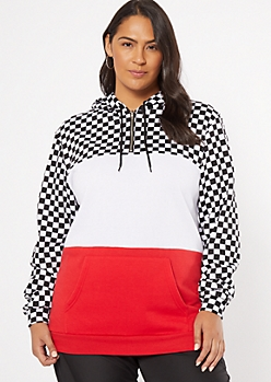 Plus Red Checkered Print Colorblock Print Hoodie