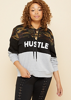 Plus Camo Print Colorblock Hustle Hoodie