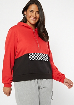 Plus Red Colorblock Checkered Print Half Zip Hoodie