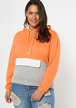 Plus Neon Orange Colorblock Half Zip Hoodie