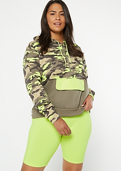 Plus Neon Green Camo Print Colorblock Half Zip Hoodie
