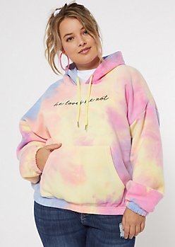 Plus Tie Dye Loves Me Cropped Active Hoodie