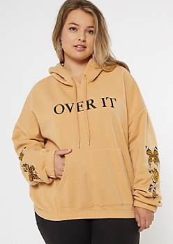 Plus Tan Over It Butterfly Skimmer Graphic Hoodie
