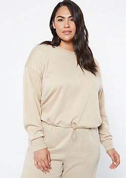 Plus Sand Crew Neck Drawstring Hem Sweatshirt