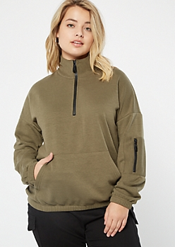 Plus Olive Half Zip Cargo Pocket Pullover