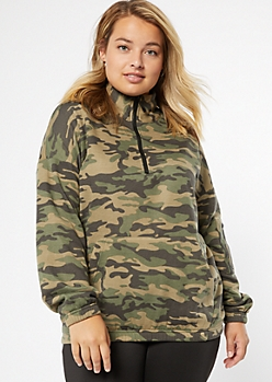 Plus Camo Print Half Zip Cargo Pocket Pullover