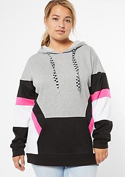 Plus Neon Fuchsia Checkered Print Colorblock Hoodie