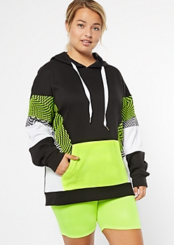 Plus Neon Yellow Checkered Print Colorblock Hoodie