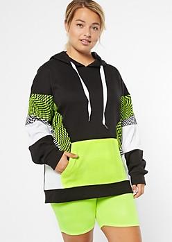 Plus Neon Yellow Checkered Print Colorblock Hoodie