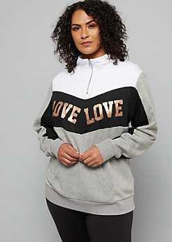 Plus Gray Love Colorblock Quarter Zip Sweatshirt