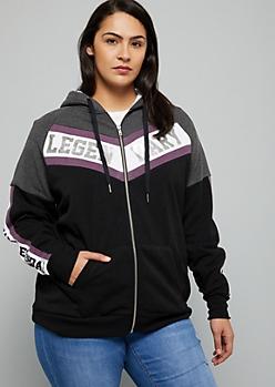 Plus Black Colorblock Legendary Sherpa Zip Front Hoodie