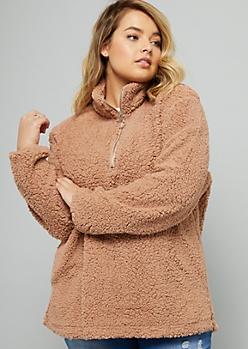 Plus Brown Sherpa Half Zip Sweatshirt
