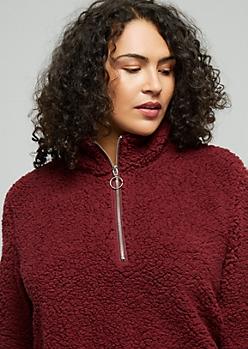 Plus Burgundy Sherpa Half Zip Sweatshirt