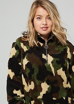Plus Camo Print Sherpa Half Zip Sweatshirt