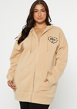 Plus Tan Over It Zip Up Hoodie
