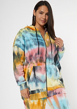 Plus Tie Dye Zip Up Hoodie