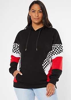 Plus Black Checkered Print Colorblock Hoodie