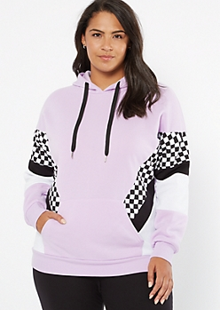 Plus Lavender Checkered Print Colorblock Fleece Hoodie