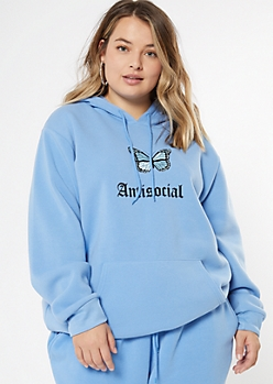 Plus Blue Antisocial Boyfriend Hoodie