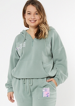 Plus Sage Green Iconic Butterfly Embroidered Quarter Zip Hoodie