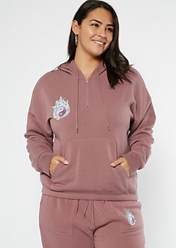Plus Purple Flaming Yin Yang Embroidered Hoodie