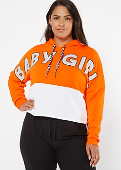 Plus Orange Colorblock Baby Girl Graphic Hoodie