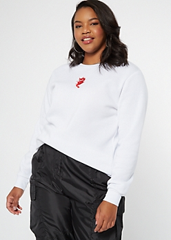 Plus White Dragon Embroidered Sweatshirt