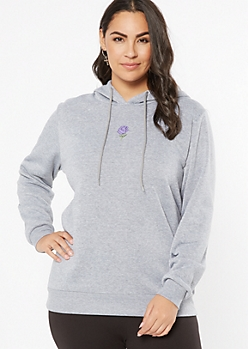 Plus Gray Rose Embroidered Hoodie