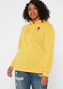 Plus Mustard Skeleton Rose Embroidered Hoodie
