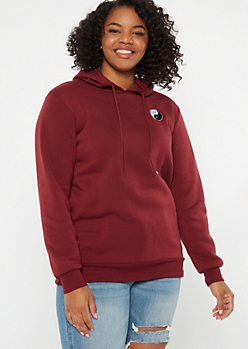 Plus Burgundy Yin Yang Embroidered Hoodie