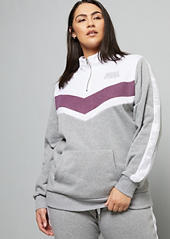 Plus Gray Chevron Colorblock Good Vibes Graphic Sweatshirt