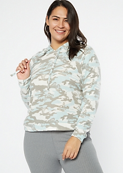 Plus Blue Camo Butterfly Print Ribbed Knit Hoodie