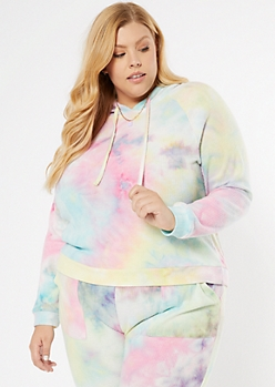 Plus Rainbow Tie Dye Ribbed Knit Hoodie