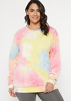 Plus Pastel Rainbow Tie Dye Pullover