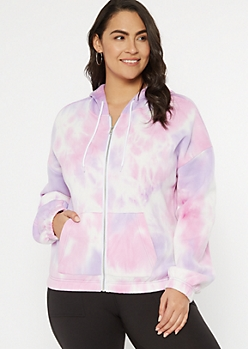 Plus Purple Tie Dye Fleece Zip Up Hoodie