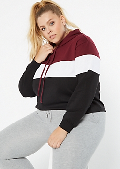 Plus Burgundy Colorblock Pullover Hoodie