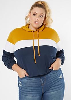 Plus Mustard Colorblock Pullover Hoodie