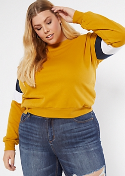 Plus Mustard Striped Crew Neck Sweatshirt